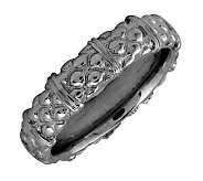 Simply Stacks Sterling Black Rhodium-Plated Texture 4.25mmRing - J298992