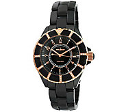 Peugeot Womens Swarovski Crystal Rose GoldtoneBezel Watch - J308592