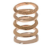 Bronzo Italia Set of 5 Polished & Textured Stack Rings - J312292