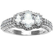 Judith Ripka Sterling Diamonique Oval Halo Ring - J314192