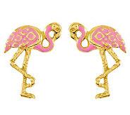 Pink Flamingo Stud Earrings, 14K Gold - J314492