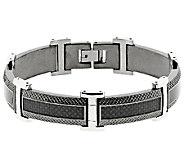 Mens Black Stainless Steel & Carbon Fiber Textured Bracelet - J316792