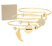 Set of 3 Goldtone Charm Bangles - J317392