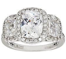 Epiphany Diamonique 3-Stone Emerald Halo Ring