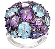 Graziela Gems Sterling Silver Multi-Gemstone Cluster Ring, 13.50 ct tw - J321192