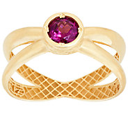 14K Gold Polished Gemstone X-Design Ring - J321992