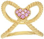 Judith Ripka Sterling & 14K Clad Pink Sapphire Heart X Ring - J322392