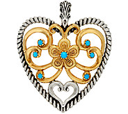 Sterling/Brass Turquoise Bold Heart Enhancer by American West - J323892