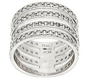 As Is Vicenza Silver Sterling Diamonique 4-Row Band Ring - J324492