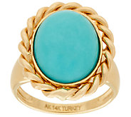 14K Gold Polished Turquoise Ring with Woven Border - J324692