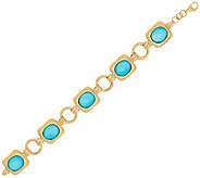 14K Gold Avg. Sleeping Beauty Turquoise Doublet Bracelet - J324792