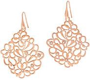 As Is Bronze Floral Openwork Crystal Dangle Earrings by Bronzo Italia - J327592