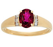 Oval Rubellite & Baguette Diamond Ring 14K Gold 1.00 ct - J328292