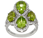 As Is Graziela Gems Peridot & White Zircon Sterling Ring 3.90 cttw - J329092
