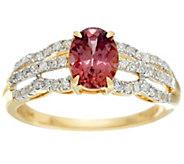 As Is Blue or Rose Zircon & Diamond Ring, 14K Gold 1.75 ct - J331192