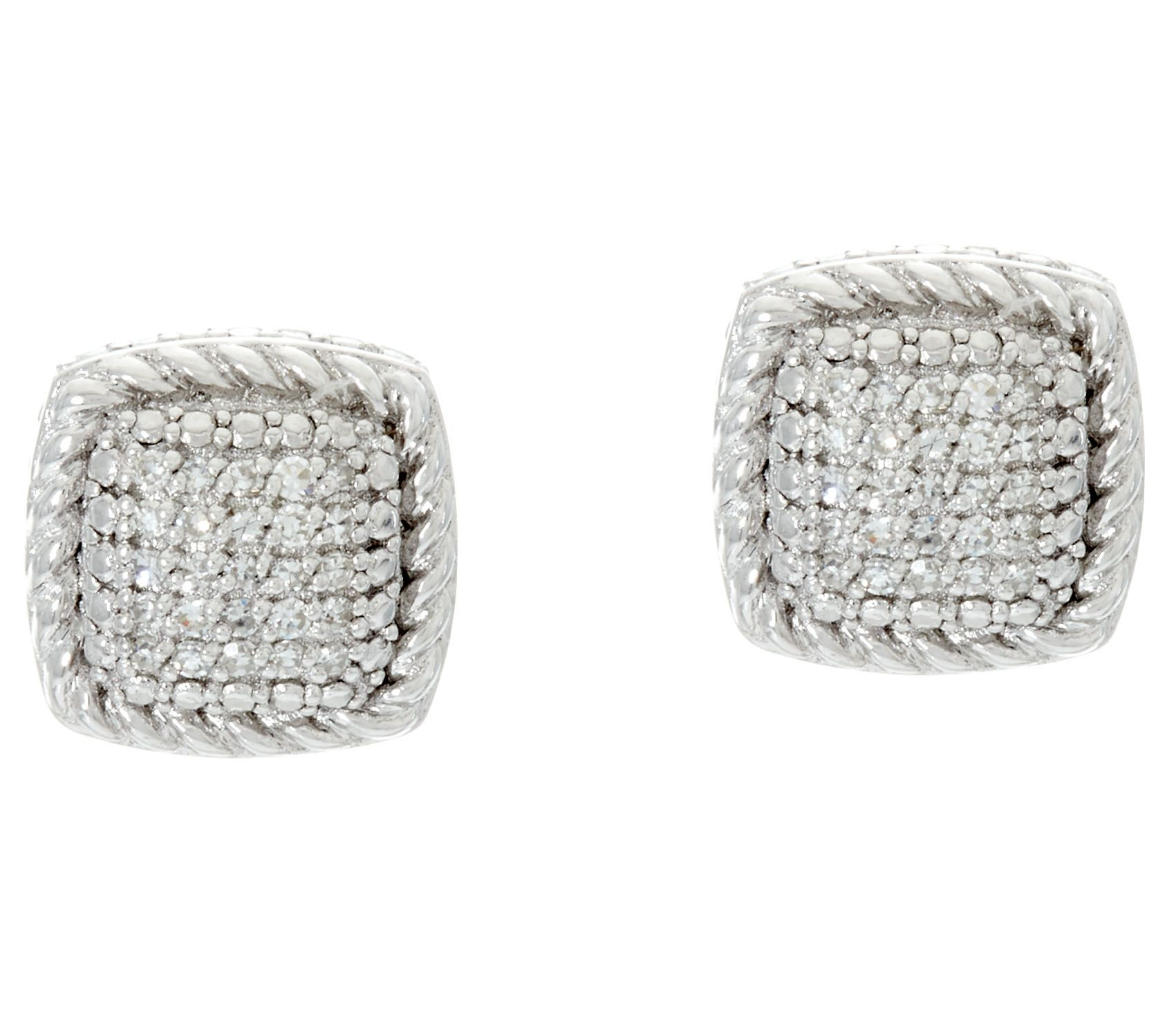 Cushion Shaped Stud Earrings Sterling 1 7 cttw by Affinity