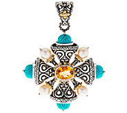Barbara Bixby Sterling & 18K Gemstone & Pearl Cross Enhancer - J334192