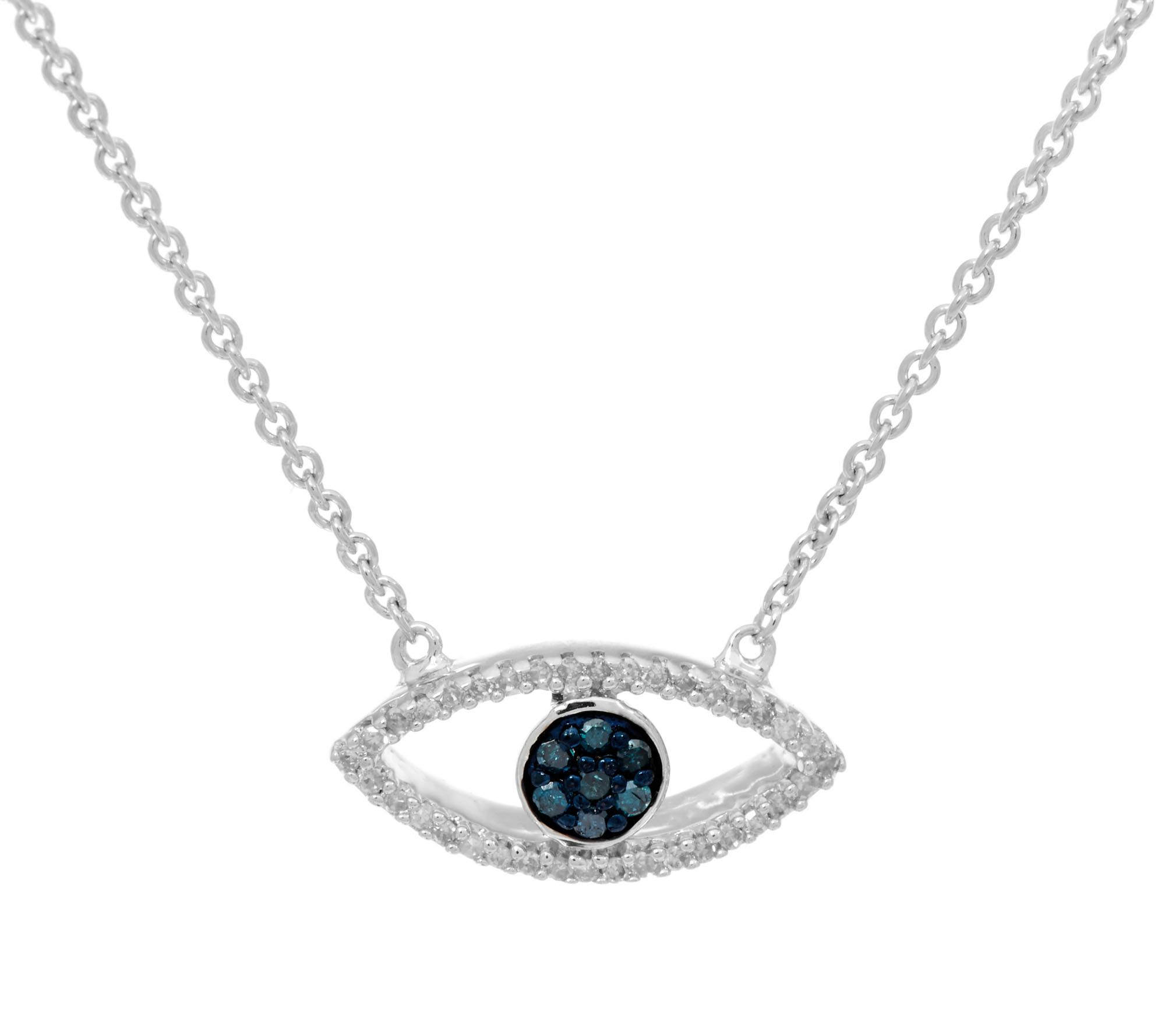 diamond evil eye 18 u0026quot  necklace  sterling 1  10 cttw  affinity