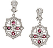 Judith Ripka Sterling Silver Pink Tourmaline & Diamonique Cross Earrings - J347692