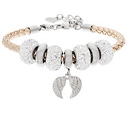 Stainless Steel Simulated Leather Bracelet w/char Crystal Beads - J348192