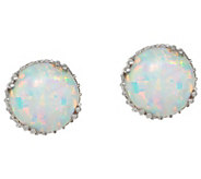 Diamonique and Synthetic Opal Stud Earrings, Sterling - J348592