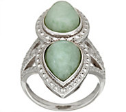 Pear Shaped Burmese Jade Elongated Sterling Ring - J348792