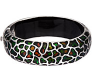 Ammolite Mosaic Sterling Silver Oval Hinged Bangle - J350092