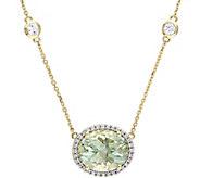 14K 5.10 ct Green Amethyst & 1/6 cttw Diamond Necklace - J377192
