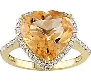 14K 4.90 ct Citrine & 1/4 cttw Diamond Heart Halo Ring - J377792