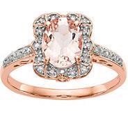 14K Rose Gold Diamond & Morganite Rectangle Ring - J378292