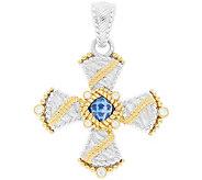 Judith Ripka Sterling & 14K Clad Blue Topaz Cross Enhancer - J379992