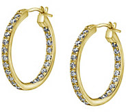 Diamonique Inside-Out Hoop Earrings, 14K Gold - J380492