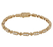 Judith Ripka 14K Gold 6-3/4 Diamond Oval LinkBracelet - J381192