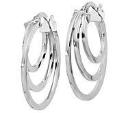 Italian Gold Polished Triple Hoop Earrings 14K - J381692