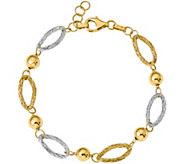 Italian Gold Two-Tone Oval Link Bracelet 14K, 4.2g - J381992