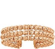 Italian Gold Three-Row Adjustable Beaded Band Ring, 14K - J382092