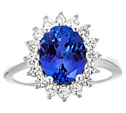 14K Gold 2.40 cttw Oval Tanzanite Halo Ring - J382592