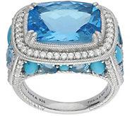 Judith Ripka Sterling 8.75-Carat Blue Topaz & Turquoise Ring - J383592