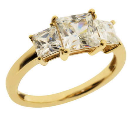 diamonique 2 50 ct tw 3 square princess ring 14k