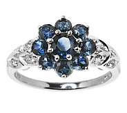 1.75 ct tw Thai Blue Sapphire and White Zircon Sterling Ring - J271193