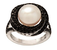 Honora Cultured Pearl 10.0mm Button & 1.00 cttw Black Spinel Ring - J283293