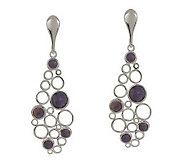 As Is Paola Valentini Sterling Gemstone Open Circle Earrings - J288593