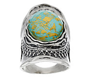 Sterling Silver Turquoise & 18K Gold Foil Triplet Ring by Or Paz - J289793