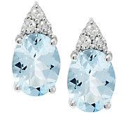 1.60 ct tw Oval Aquamarine and 1/10ct tw Diamond Stud Earrings, 14K - J290893