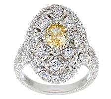 Judith Ripka Sterling Estate 2.55 cttw Diamonique Oval Ring