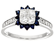 Michael Beaudry 4/10 cttw Diamond & .35ct Sapphire Halo Ring, 14K Gold - J294393