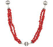 3-Strand Red Coral Bead 36 Sterling Necklace by American West - J294993