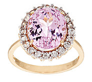 5.75 ct tw Kunzite and White Zircon Ring, 14K Gold - J295893