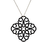 Italian Silver Sterling Crystal Scroll Design Pendant with 18 Chain - J296293