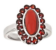 Oval Garnet Cabochon Ring, Sterling - J305793